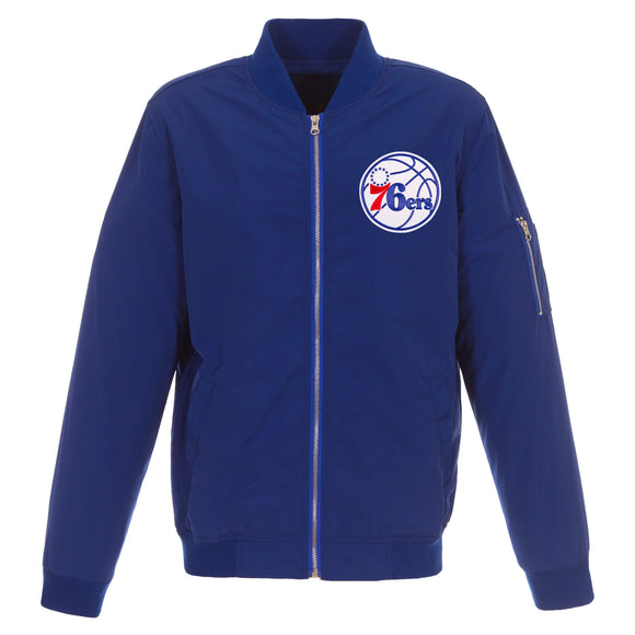 Philadelphia 76ers  JH Design Lightweight Nylon Bomber Jacket – Royal - JH Design