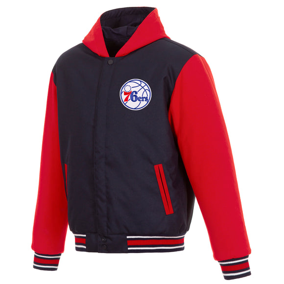 Philadelphia 76ers Two-Tone Reversible Fleece Hooded Jacket - Navy/Red - JH Design