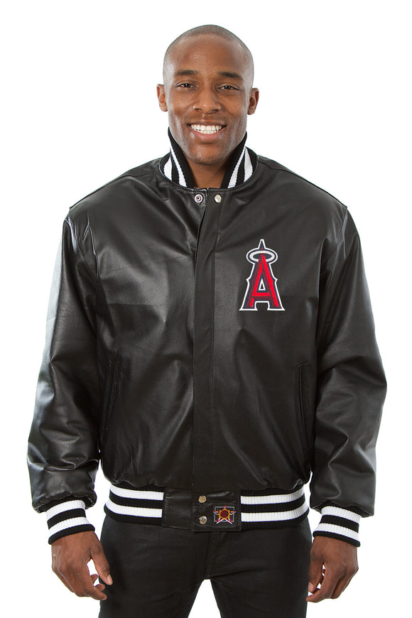 Los Angeles Angels Full Leather Jacket - Black