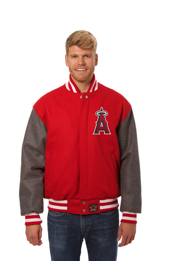 Los Angeles Angels Two-Tone Wool Jacket w/ Handcrafted Leather Logos - Red/Gray - JH Design
