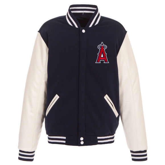 Los Angeles Angels of Anaheim - JH Design Reversible Fleece Jacket with Faux Leather Sleeves - Navy/White - JH Design