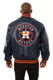 Houston Astros Full Leather Jacket - Navy