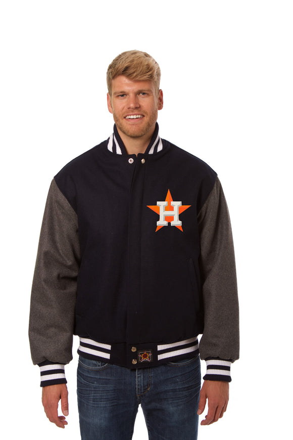 Houston Astros Two-Tone Wool Jacket w/ Handcrafted Leather Logos - Navy/Gray - JH Design