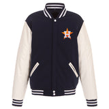 Houston Astros - JH Design Reversible Fleece Jacket with Faux Leather Sleeves - Navy/White - JH Design