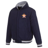 Houston Astros Two-Tone Reversible Fleece Hooded Jacket - Navy/Grey - JH Design
