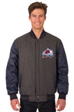 Colorado Avalanche Wool & Leather Reversible Jacket w/ Embroidered Logos - Charcoal/Navy