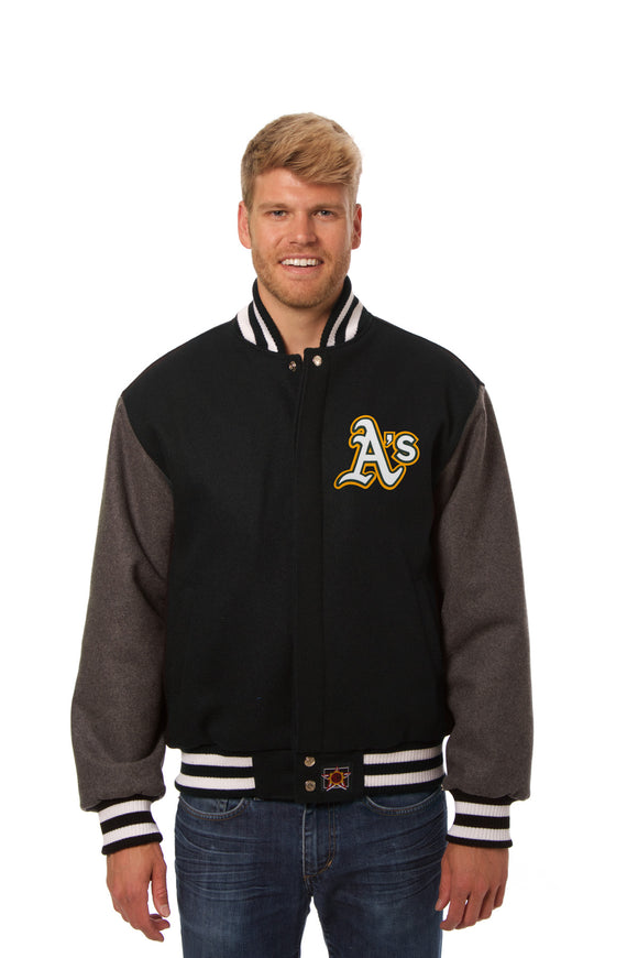 Oakland Athletics Two-Tone Wool Jacket w/ Handcrafted Leather Logos - Black/Gray - JH Design