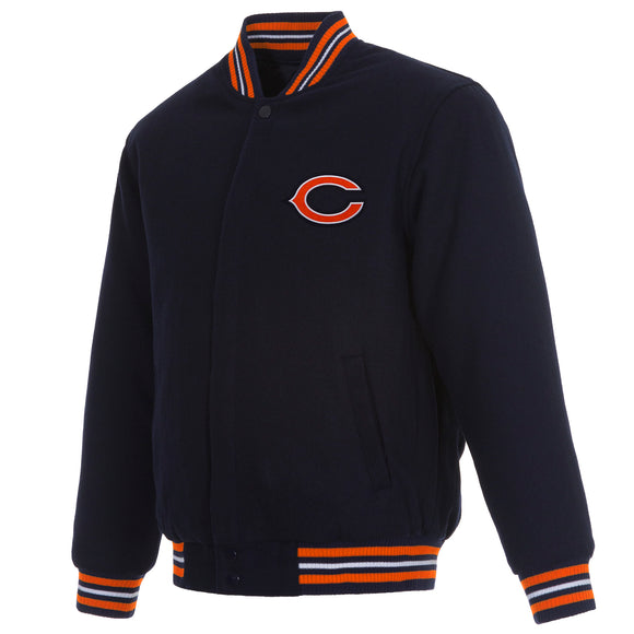 Chicago Bears Reversible Wool Jacket - Navy