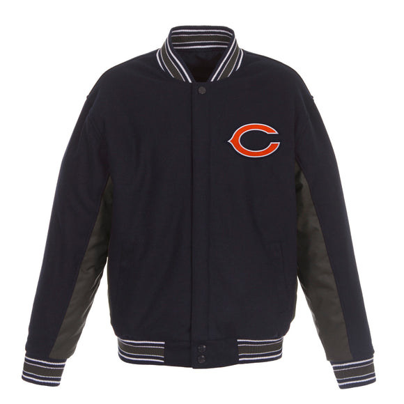 Chicago Bears JH Design Wool Reversible Full-Snap Jacket – Navy