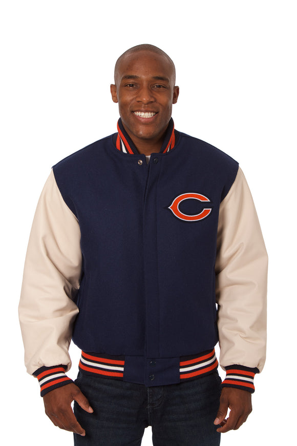 Chicago Bears Two-Tone Wool and Leather Jacket - Navy/Cream - JH Design