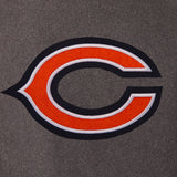 Chicago Bears Wool & Leather Reversible Jacket w/ Embroidered Logos - Charcoal/Navy - JH Design