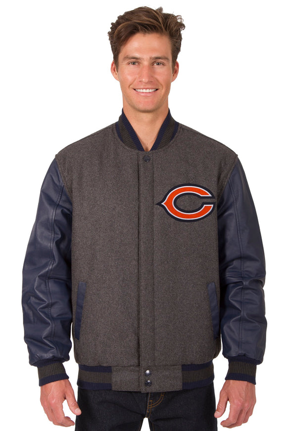 Chicago Bears Wool & Leather Reversible Jacket w/ Embroidered Logos - Navy - JH Design