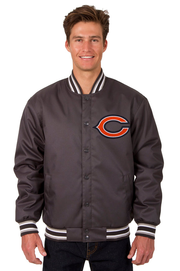 Chicago Bears Poly Twill Varsity Jacket - Charcoal