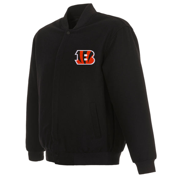 Cincinnati Bengals Reversible Wool Jacket - Black - JH Design