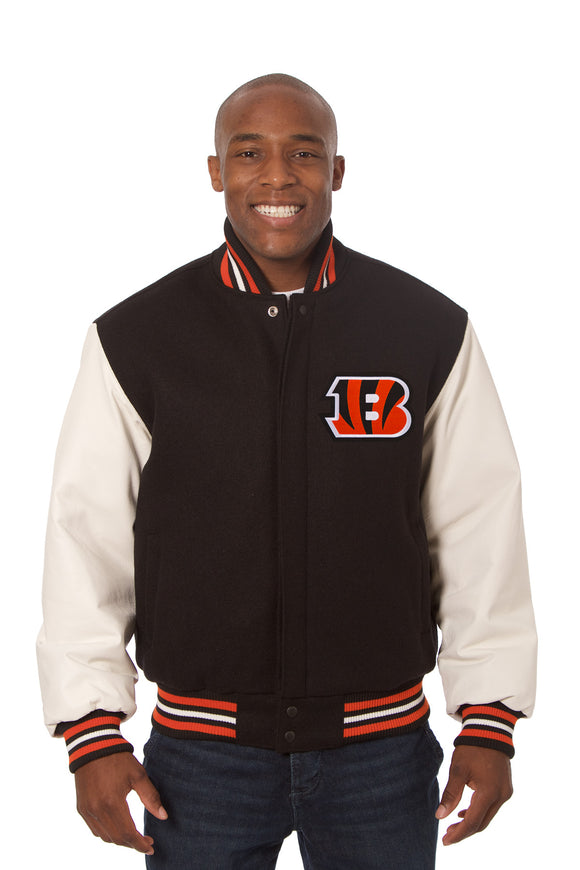 Cincinnati Bengals Two-Tone Wool and Leather Jacket - Black/White - J.H. Sports Jackets