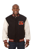 Cincinnati Bengals Two-Tone Wool and Leather Jacket - Black/White - JH Design