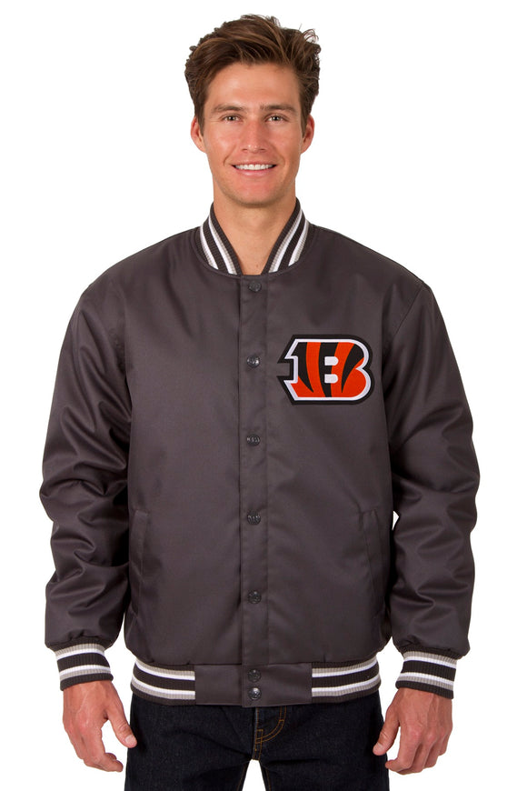 Cincinnati Bengals Poly Twill Varsity Jacket - Charcoal - JH Design