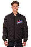 Buffalo Bills Wool & Leather Reversible Jacket w/ Embroidered Logos - Charcoal/Black - J.H. Sports Jackets