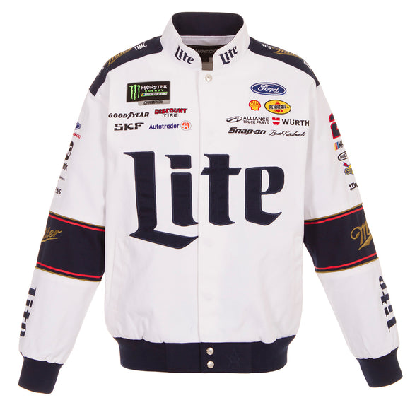 2018 Brad Keselowski Miller Lite Uniform Jacket - White - JH Design