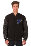 St. Louis Blues Wool & Leather Reversible Jacket w/ Embroidered Logos - Black