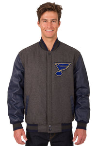 St. Louis Blues Wool & Leather Reversible Jacket w/ Embroidered Logos - Charcoal/Navy - JH Design