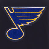 St. Louis Blues JH Design Reversible Fleece Jacket with Faux Leather Sleeves - Navy/White - JH Design