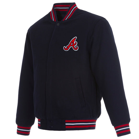 Atlanta Braves Reversible Wool Jacket - Navy - JH Design