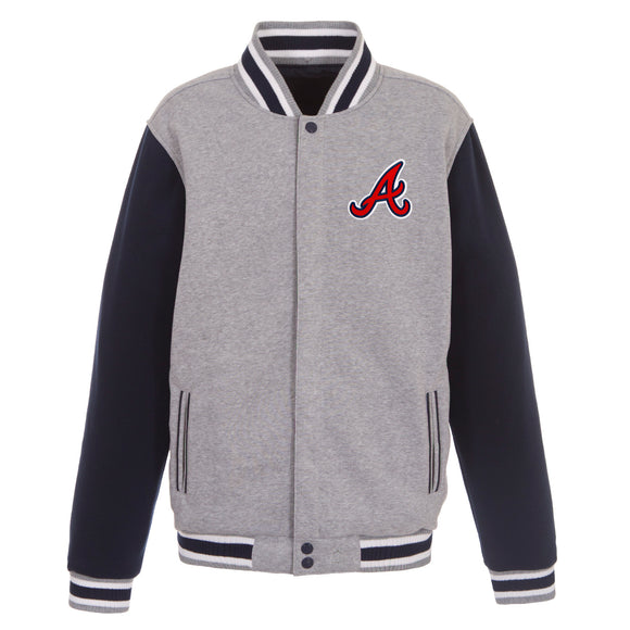Atlanta Braves Two-Tone Reversible Fleece Jacket - Gray/Navy - JH Design