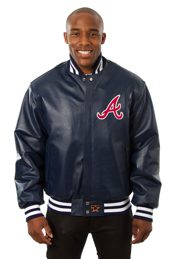 Atlanta Braves Full Leather Jacket - Navy - JH Design