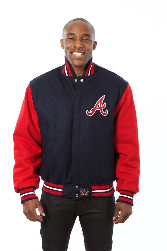Atlanta Braves Two-Tone Wool Jacket w/ Handcrafted Leather Logos - Navy/Red - JH Design