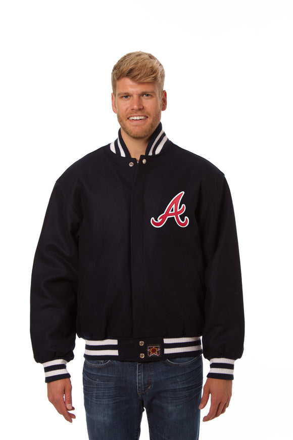 Atlanta Braves Wool Jacket w/ Handcrafted Leather Logos - Navy - JH Design