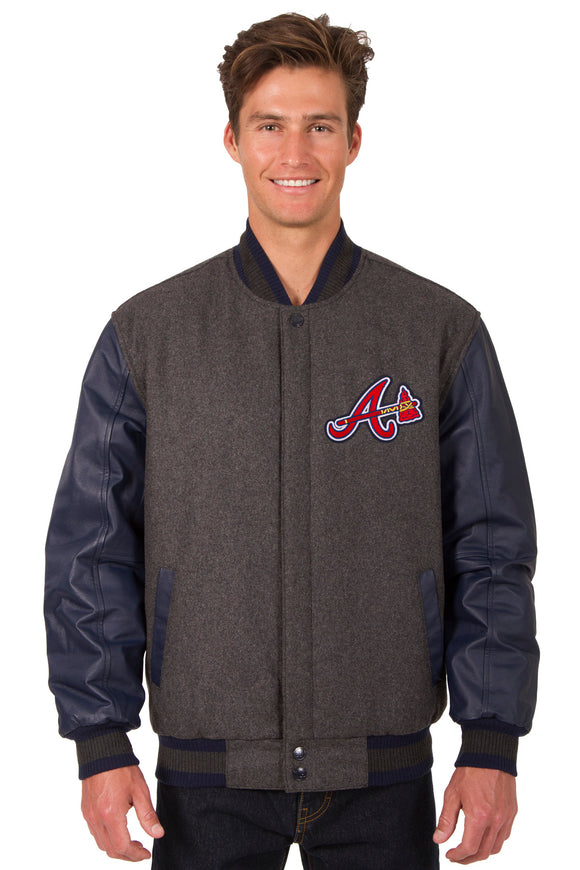 Atlanta Braves Wool & Leather Reversible Jacket w/ Embroidered Logos - Charcoal/Navy