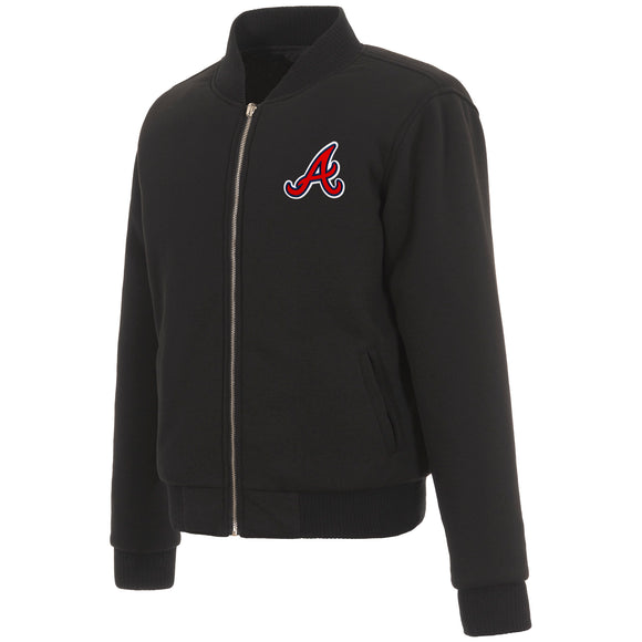 Atlanta Braves JH Design Reversible Women Fleece Jacket - Black - JH Design