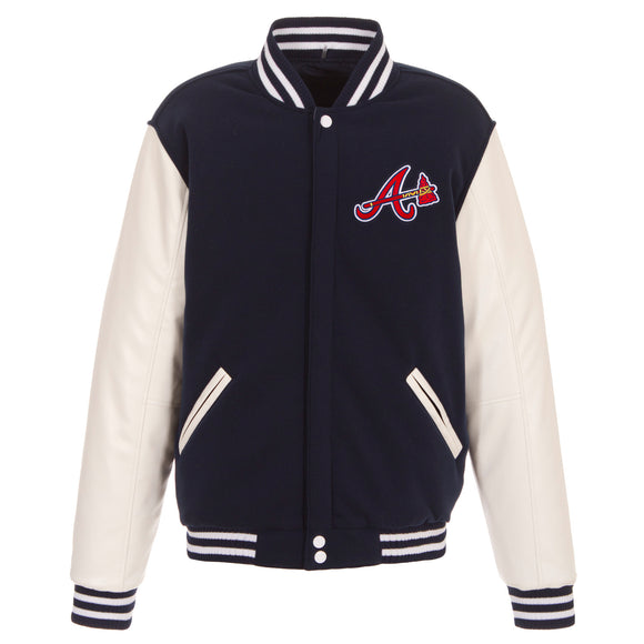 Atlanta Braves - JH Design Reversible Fleece Jacket with Faux Leather Sleeves - Navy/White - JH Design