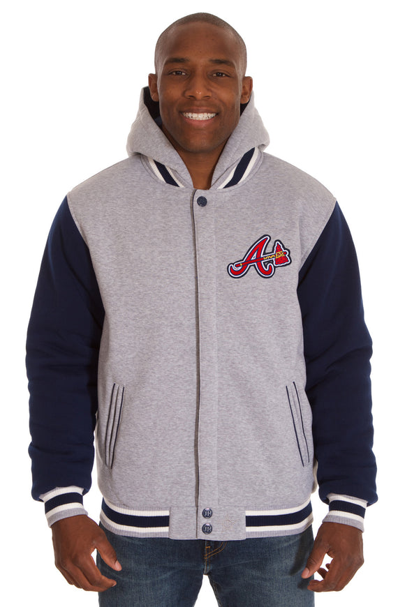Atlanta Braves Two-Tone Reversible Fleece Hooded Jacket - Gray/Navy