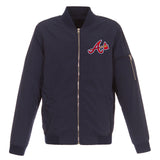 Atlanta Braves JH Design Lightweight Nylon Bomber Jacket – Navy