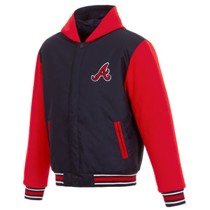 Atlanta Braves Two-Tone Reversible Fleece Hooded Jacket - Navy/Red - JH Design