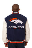 Denver Broncos Two-Tone Wool and Leather Jacket - Navy/White - JH Design