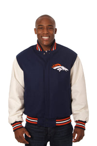 Denver Broncos Two-Tone Wool and Leather Jacket - Navy/White