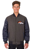 Denver Broncos Wool & Leather Reversible Jacket w/ Embroidered Logos - Charcoal/Navy