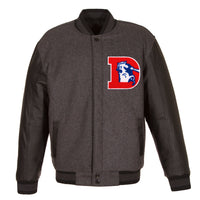 Denver Broncos Wool & Leather Throwback Reversible Jacket - Charcoal