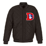 Denver Broncos Wool & Leather Throwback Reversible Jacket - Charcoal - JH Design