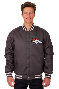 Denver Broncos Poly Twill Varsity Jacket - Charcoal - JH Design