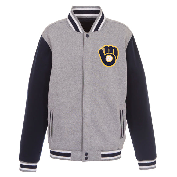 Milwaukee Brewers Two-Tone Reversible Fleece Jacket - Gray/Navy - JH Design