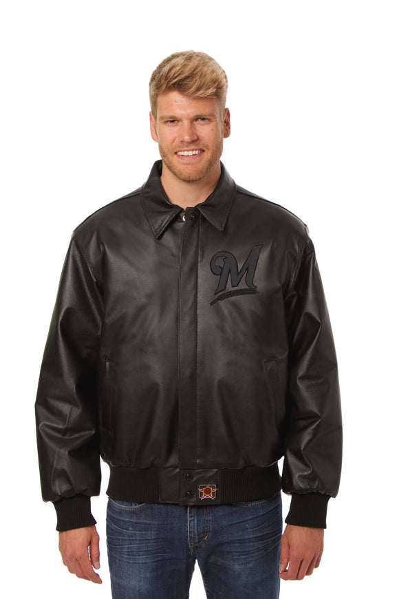 Milwaukee Brewers Full Leather Jacket - Black/Black - JH Design