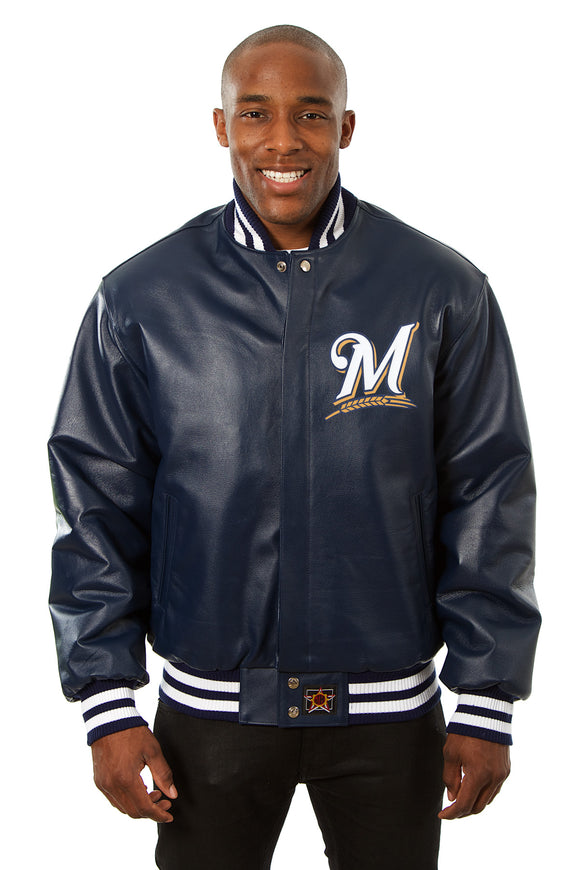 Milwaukee Brewers Full Leather Jacket - Navy - JH Design