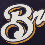 Milwaukee Brewers Two-Tone Wool Jacket w/ Handcrafted Leather Logos - Navy/Gray - JH Design