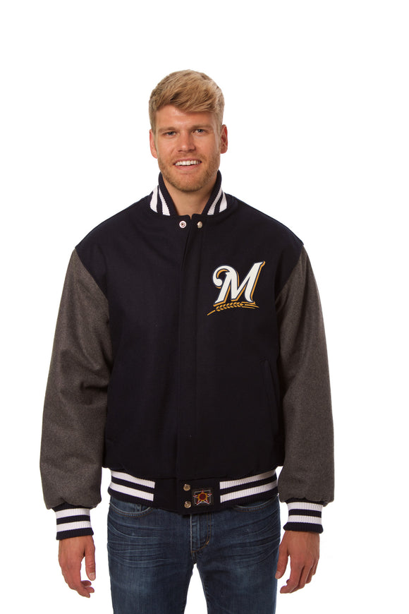 Milwaukee Brewers Two-Tone Wool Jacket w/ Handcrafted Leather Logos - Navy/Gray