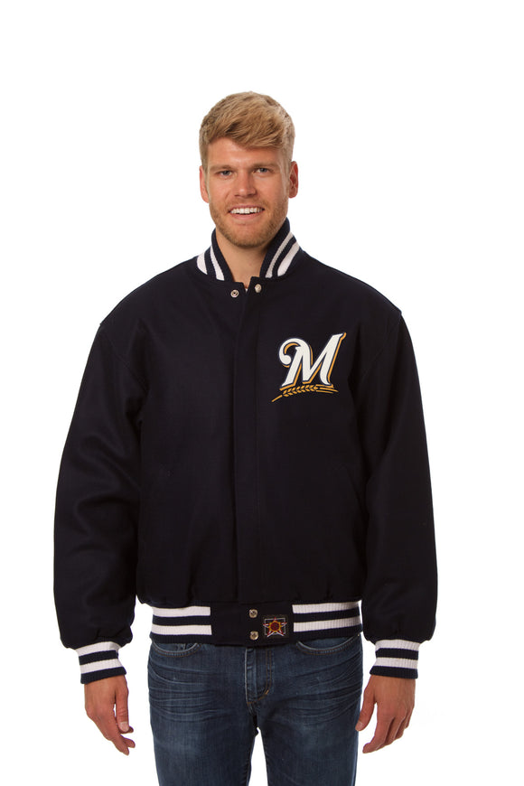 Milwaukee Brewers Wool Jacket w/ Handcrafted Leather Logos - Navy - JH Design