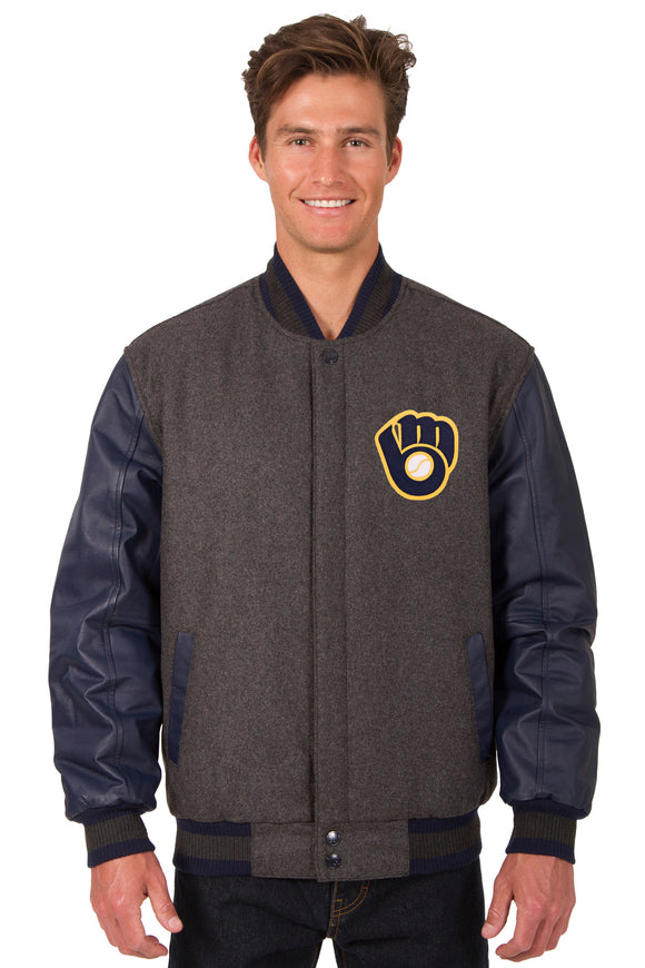 Milwaukee Brewers Wool & Leather Reversible Jacket w/ Embroidered Logos - Charcoal/Navy - J.H. Sports Jackets